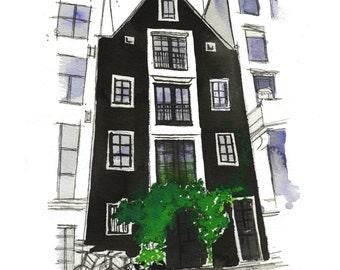 Dreaming of Amsterdam, original watercolor painting