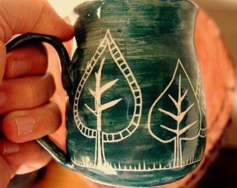 Coffee mug green mug stoneware mug pine tree design mug, tree mug