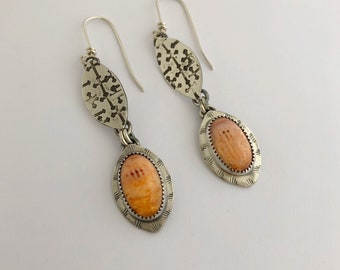 Orange Gemstone Jewelry For Women, Lion's Paw Shell, Sterling Dangle Earrings. Jewerly For Spring Colors, Gifts For Mother's Day.