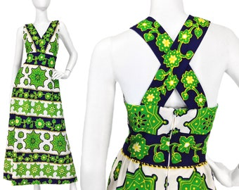 Vintage Clothing, 70s Maxi Dress M L, Floral Print Dress, Geometric, Sleeveless Dress, Psychedelic, Cross Back, 1960s, 1970s, SIZE M L 10 12
