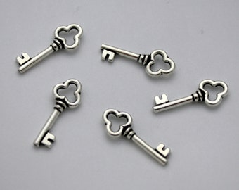 5 TierraCast Key Charms - Silver Plated Pewter Charms - 22 mm x 9 mm