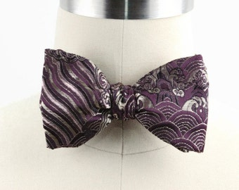 Free Style Bow Tie, Self Tie Bow Tie, Men's Bow Tie, Formal, Men's Accessories, Adjustable Bow Tie, Jacquard, Purple & Gold, Butterfly Style