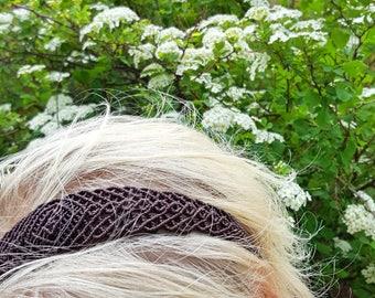 Diamond Gold Stone Macrame Headband. Macrame Headband. Woven Headband. Festival Fashion. Boho Chic.