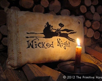 Primitive cross stitch pattern: Wicked night