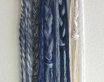 Woven Wall Tapestry Wall Hanging - Blue and White Yarns