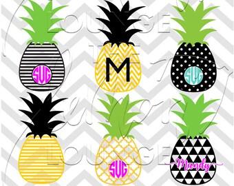 Pineapple Monogram svg, 12 monogram svg, pineapple svg, summer svg, fruit svg, monogram cut file, digital cut file, commercial use OK