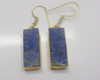 Lapis Lazuli Earrings - Handmade Earrings - Rough Stone Earrings - Gold Plated Earrings - Drop Earrings - Fashion Earrings - Birthday Gift
