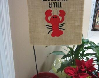 Crawfish Burlap Flag/ Crawfish Garden Flag/ Crawfish Monogram Flag/ Crawfish Embroidered Flag/ Burlap Garden Flag