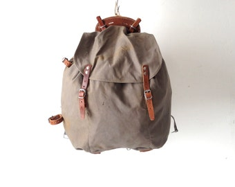 60s olive brown sleek LEATHER RUCKSACK backpack canvas and leather