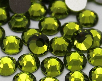 Olive Green Crystal Glass Rhinestones - SS20, 1440 pieces - 5mm Flatback, Round, Loose Bling