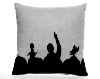MST3K- Appliqued Eco Felt Pillow Cover in Black and Silver - 18 inches