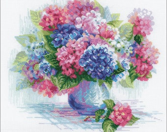 "Hydrangea-RIOLIS Counted Cross Stitch Kit 13.75""X11.75"" (Pre-Order)"