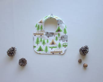 Little Camper Baby Bib - Drooling Bib - Infant Bib - Early Feeding Bib - Baby Boy Gift - Summer Baby Bib - Made 4U Handmade Designs