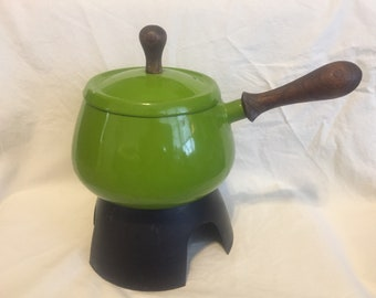 Vintage Green 1967 Ruebel Fondue Pot with Stand
