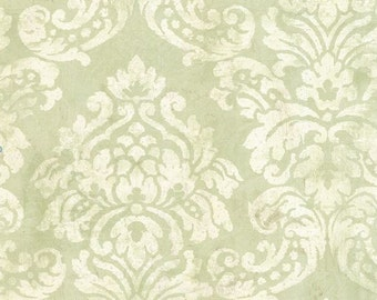 Light Green Stamped Damask Wallpaper