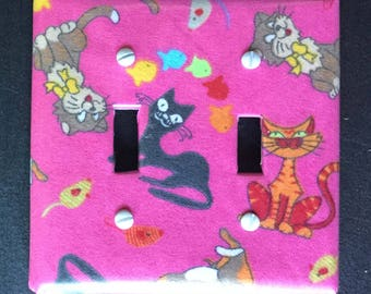 Switch Cover-Multi-cat on Pink