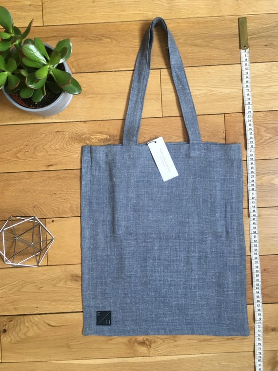 light blue woven wool Tote Bag denim look vintage fabric with zip compartment
