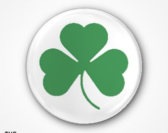Shamrock  Pin Badge or Magnet. Available as 2.5cm badge or 3.8cm Badge or magnet