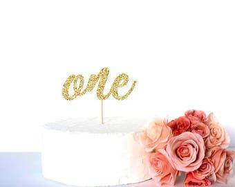 One first birthday caketopper, Gold glitter 1st birthday cake topper, glitter cardstock paper cake decoration