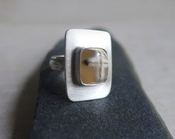 Cross Agate Sterling Silver Ring, Jerusalem Stone Silver Ring, Religious Christian Gemstone Cross Ring, Square Gemstone Cross Ring