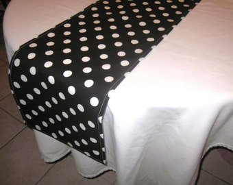 Black and White Polka Dot Table Runner, Minnie Mouse Party,Mickey Mouse Party,Wedding, Bridal Shower, Baby Shower,Graduation