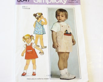 Simplicity 8047: Toddlers' Back-Wrap Dress or Jumper and Overalls - Toddlers Size 1 UNCUT