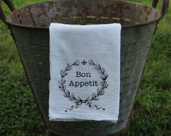 Bon Appetit Laurel Wreath with Fleur De Lis Flour Sack Towel/Kitchen Towel