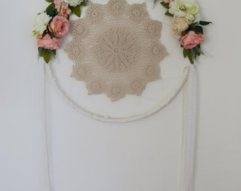 Wedding dreamcatcher wreath, lace dreamcatcher, Apricot, Pink, Beige, Yellow, Cream Bohemian, Boho wedding decor.