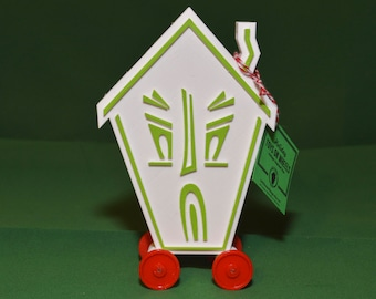 Haunted House Logo Vintage Style Toy on Wheels 3D Printed Plastic Holiday Christmas White Green