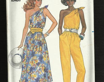 1985 Butterick 3279 One Shoulder Tied Jumpsuit & Dress with Elastic Waist Size 6