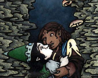 4x8.5 inch gnome dwarf woman love fairy tale fantasy art print, Just a Kiss