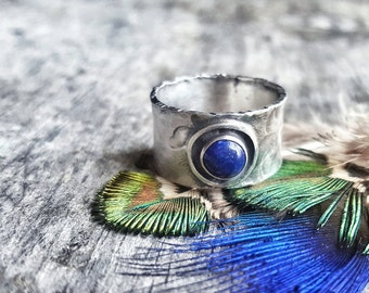 Southwestern Lapis Lazuli Ring, Sterling Silver Wide Band, Boho Style Jewelry - Desert Oasis
