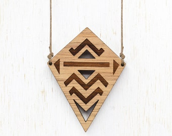 SALE - Texas - Geometric Tribal Wood Necklace - laser cut etched - womens ladies jewellery jewelry - nature blackwood