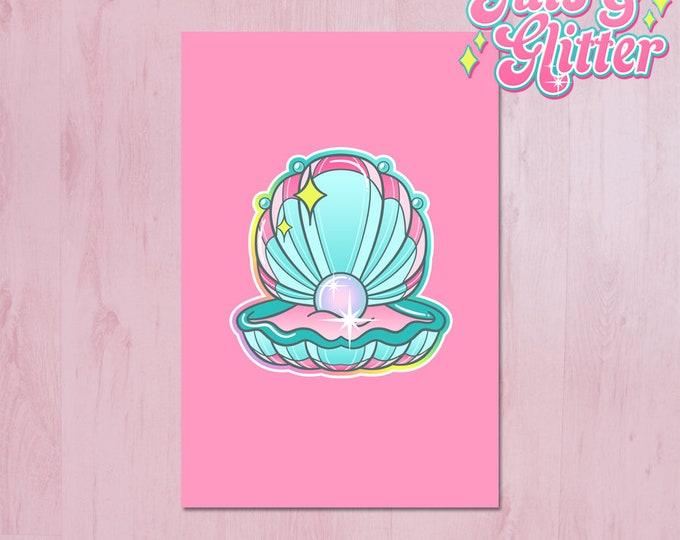 Clam with Pearl, Mermaid Mini Print