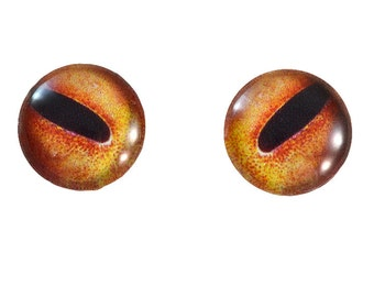Octopus Glass Eyes - 16mm - Glass Eyes - Orange