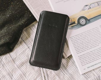 "Pouch for OnePlus 5, leather, felt, tan, black, chestnut, ""Dandy"", by band&roll"