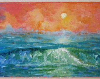 Original Impressionistic Oil Painting, San Elijo Sunset