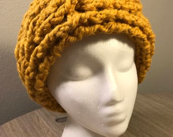 Chunky Crochet Earwarmer Headband - Mustard Yellow