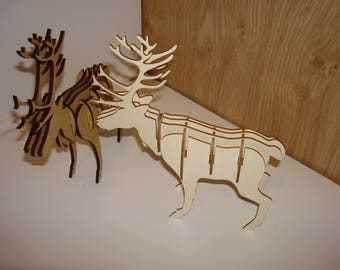 Set of deer HD043 a cutout 3D wooden