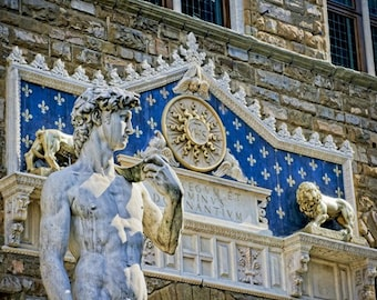 Guarding the Piazza - Tuscany - Italy photography - Fine Art travel photography - sculpture - azure, white, taupe