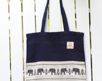 Natural indigo dyed hand woven cotton tote bag