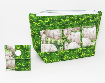 """Knitting Project Bag - NEW!  """"Grazing Sheep"""" Zippered Notions Wedge Bag;  PERFECT for a Swap Package! (V)"""
