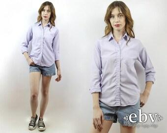 Vintage 90s Diane von Furtstenburg Button Up Blouse M DVF Blouse Lavender Blouse Button Down Shirt Button Up Blouse Lavender Shirt DVF Shirt