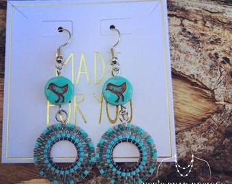 Czech Bird and Delica Stitched Earrings