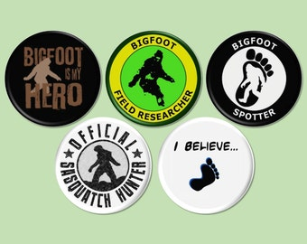 Bigfoot Pinback Buttons, Sasquatch Pinback Buttons, Bigfoot Party, Bigfoot Decorations, Geocache Treasure, Bigfoot Magnets - BB2323