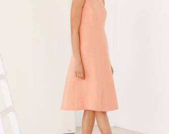 Peach dress - Halter dress - Wedding guest dress - Eco friendly vegan clothing - Midi dress
