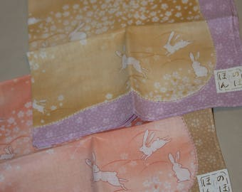 2 Rabbit Handkerchiefs Japanese Vintage New  - Ladies