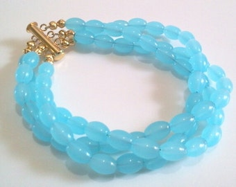 Blue Aquamarine Glass Bead Jewelry, Multi Strand Statement Bracelet, Beaded Beach Bracelet, Bridal Jewelry