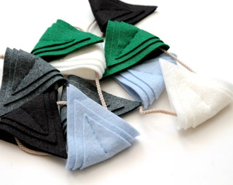 Boy Nursery Triangle Garland. Felt Bunting Flags. Art Deco Wall Hanging Happy Mountain.