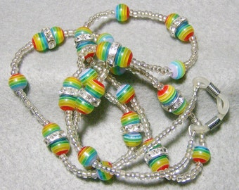 Handgefertigte Brillen Lanyard - Bright & fröhlich Regenbogen Glasperlen durch JewelryArtistry - L238